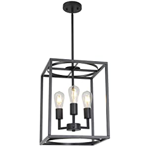 BONLICHT Rustic Hall Foyer Cage Chandelier 3-Light Vintage Industrial Farmhouse Lantern Square Pendant Hanging Lighting Black Kitchen Island Ceiling Light Fixture for Dining Room Hallway Bar