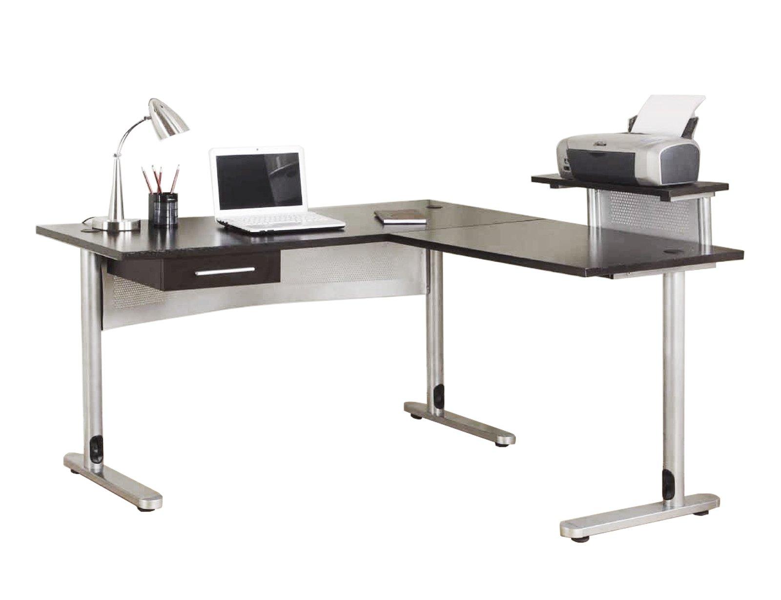 FIVEGIVEN L Shaped Office Desk Corner Desk for Home Office with Drawer and Shelf, MDF Wood and Metal, Black