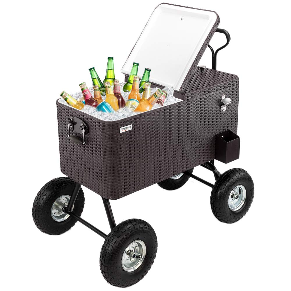 VINGLI 80 Quart Wagon Rolling Cooler Ice Chest, w/Long Handle and 10'' Wheels, Portable Beach Patio Party Bar Cold Drink Beverage, Outdoor Park Cart on Wheels Rattan-Wagon by VINGLI