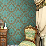 "HaokHome® 600906 Non Woven Vintage Blue/Bronze Damask Wallpaper for bedroom Wallpaper walls 20.8"" x 393.7"""