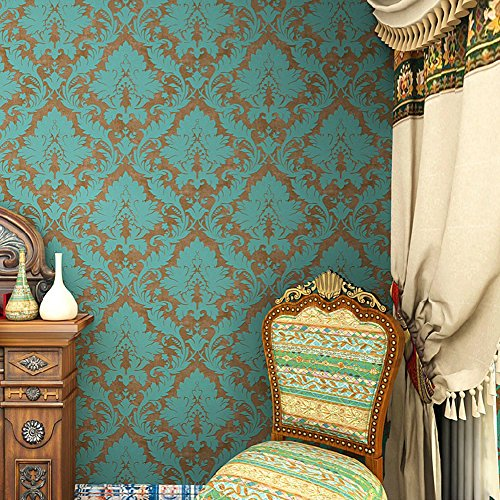 haokhome-600906-non-woven-vintage-blue-bronze-damask-wallpaper-for-bedroom-wallpaper-walls-208-x-393