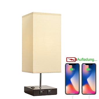 Tischlampe Retro Nachttischlampe für Schlafzimmer Stoff LED E27 Birne Nachtlicht