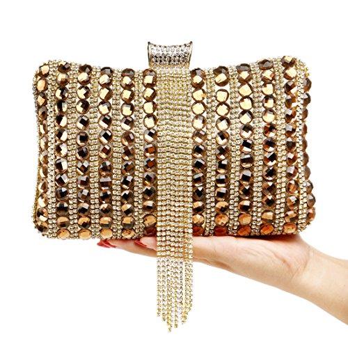 À Femmes Pochette Mode Couleur De Mariage KYS Sac Sacs De Métal Diamants Gland Messenger Soirée Perlé Main gold Bonbons qBEnTPAHw
