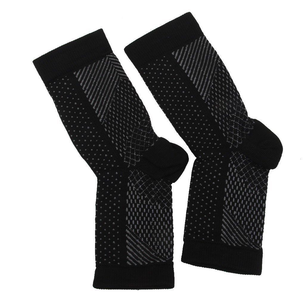 EWFSEF Open Toe Varicose Vein Compression Socks for Ankle Support (Black )