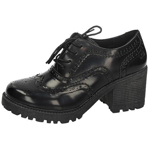 de3f0d4a61b52 XTI 46093 Zapato Tipo Blucher Mujer Zapatos TACÓN Negro 41  Amazon.es   Zapatos y complementos