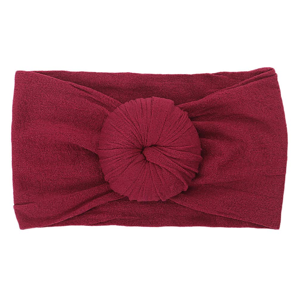 Voberry Cute Baby Girls Boys Knot Headband Toddler Infant Newborn Stretch Hairband Headwear (Wine)
