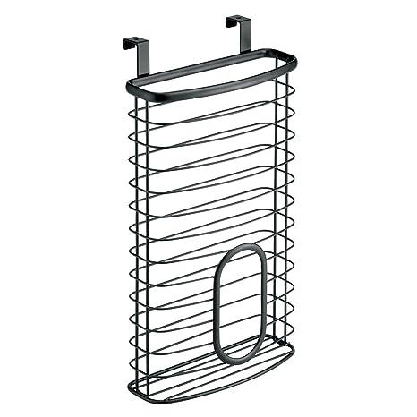 InterDesign Axis Cesta colgante para 50 bolsas de plástico, guarda bolsas para puerta en metal, dispensador de bolsas, negro mate