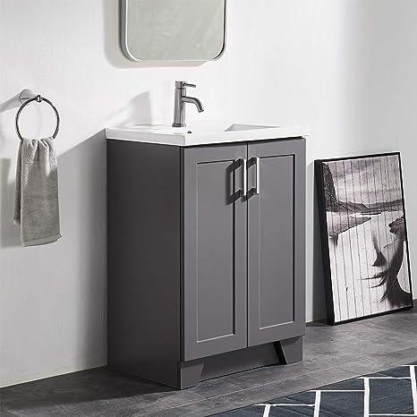 Amazon Com 24 Inch Bathroom Vanity With Sink Dark Gray Bathroom Sink Cabinet Single Modern Farmhouse Bathroom Vanity Cabinet With Ceramic Vessel Sink Bathroom Vanity Set With 2 Door Cabinet No Mirror Faucet Kitchen Dining