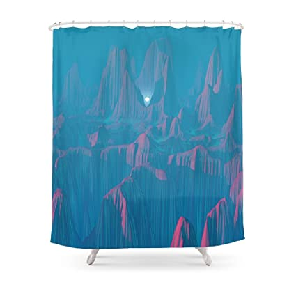 Society6 Neon Waterfalls Shower Curtain 71quot
