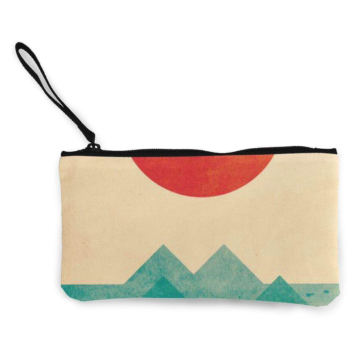 Canvas Cash Coin Purse,The Wave Print Make Up Bag Zipper Small Purse Wallets