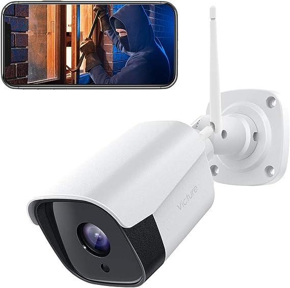 【2021 actualizado】 Victure FHD 1080P Caja Metálica Cámara IP de Vigilancia WiFi Exterior con Detección de Sonido y Movimiento con Visión Nocturna ...