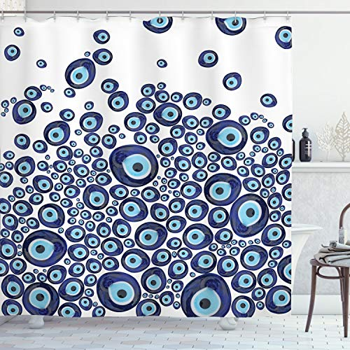 Greek Glass - Ambesonne Evil Eye Shower Curtain, Luck Glass Look Beads Graphic on Plain Background, Cloth Fabric Bathroom Decor Set with Hooks, 70