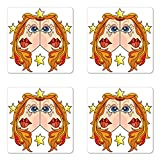 Ambesonne Zodiac Gemini Coaster Set of Four, The Twins of The Zodiac Theme Symmetrical Faces with Stars Cartoon Design, Square Hardboard Gloss Coasters for Drinks, Multicolor