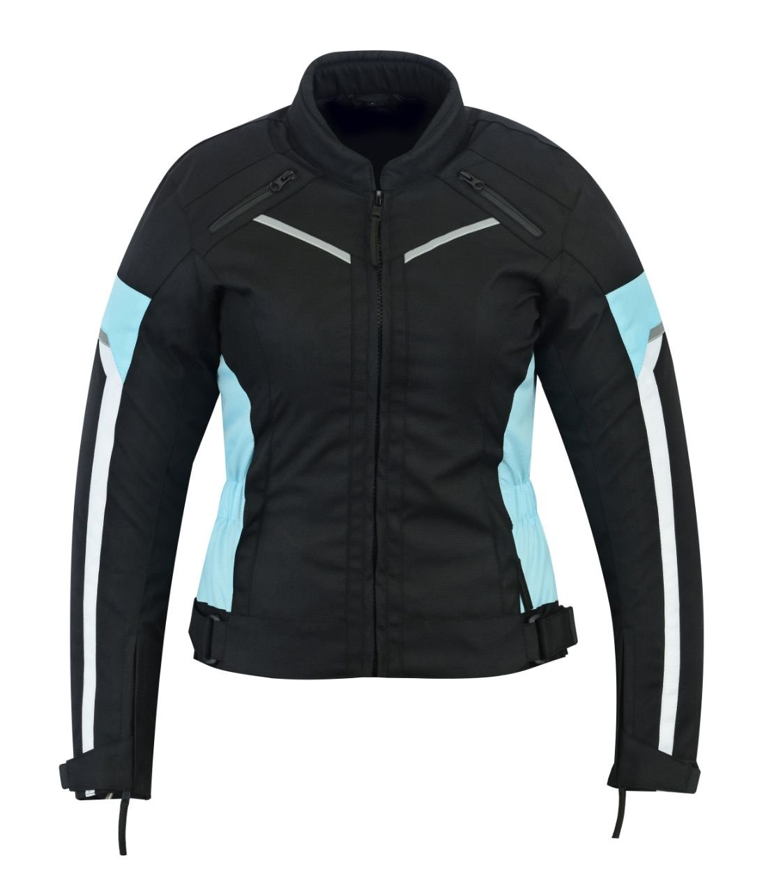 WOMENS MOTORCYCLE ARMORED HIGH PROTECTION WITH ARMOR WATERPROOF ALL WEATHERS JACKET BLACK/BLUE WJ-1834TB (S)