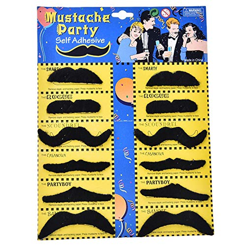 (Party DIY Decorations - 12 Pcs Set Creative Funny Costume Pirate Party Halloween Cosplay Fake Mustache Moustache Beard - Electronics Computers Garden Health Beauty Toys Girls Home Sports)