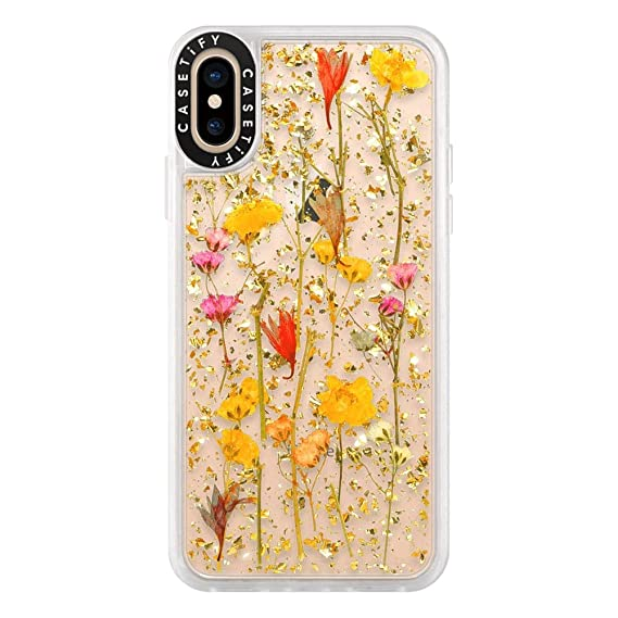 low priced 4c2e1 43bba Casetify Real Flower iPhone Xs Case Pressed Dried Flowers with 24k Gold  Foil Flake Hard Back Cover and Frost Shockproof Drop Proof Bumper and  Wireless ...