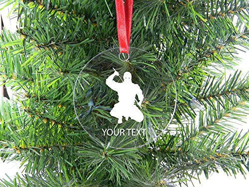 Personalized Custom Ninja Clear Acrylic Hanging Christmas Tree Ornament with Red Ribbon Perfect Holiday Gift! Contact Seller for Custom Text or Leave a Gift Message at Checkout!