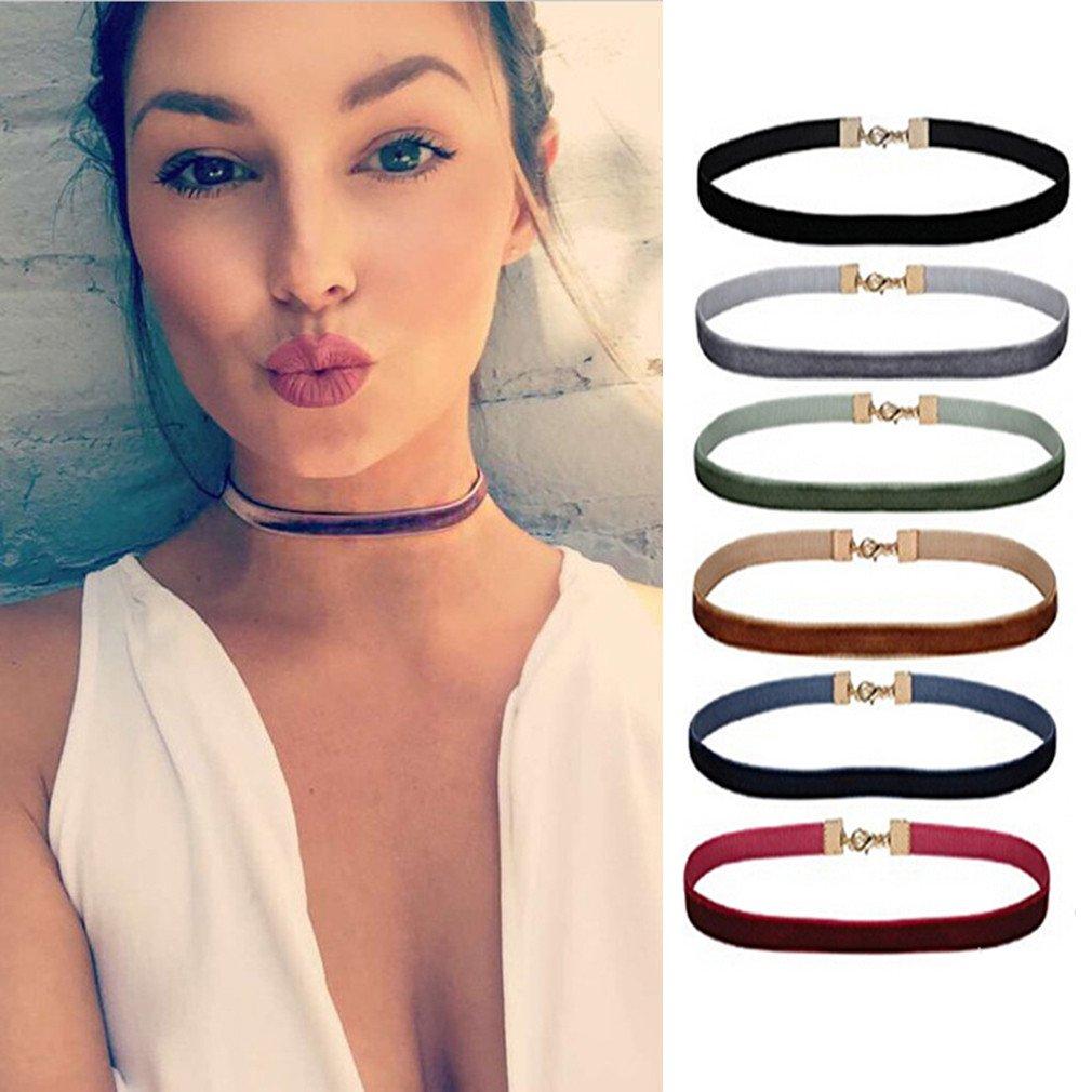 VWH Women's Choker Ribbon Velvet Choker Necklace 6pcs Set