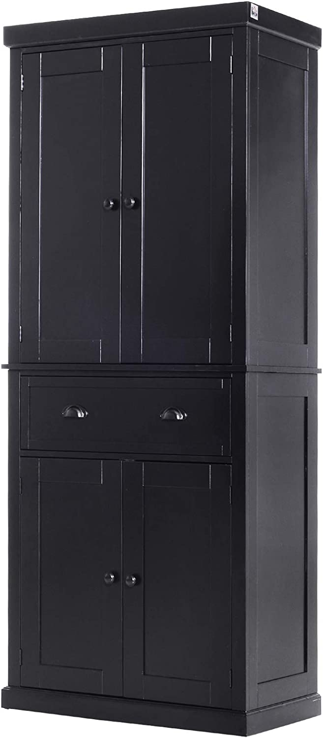 Amazon Com Homcom 72 Traditional Freestanding Kitchen Cupboard Pantry Cabinet With Elegant Colonial Design Antique Hardware Black Furniture Decor