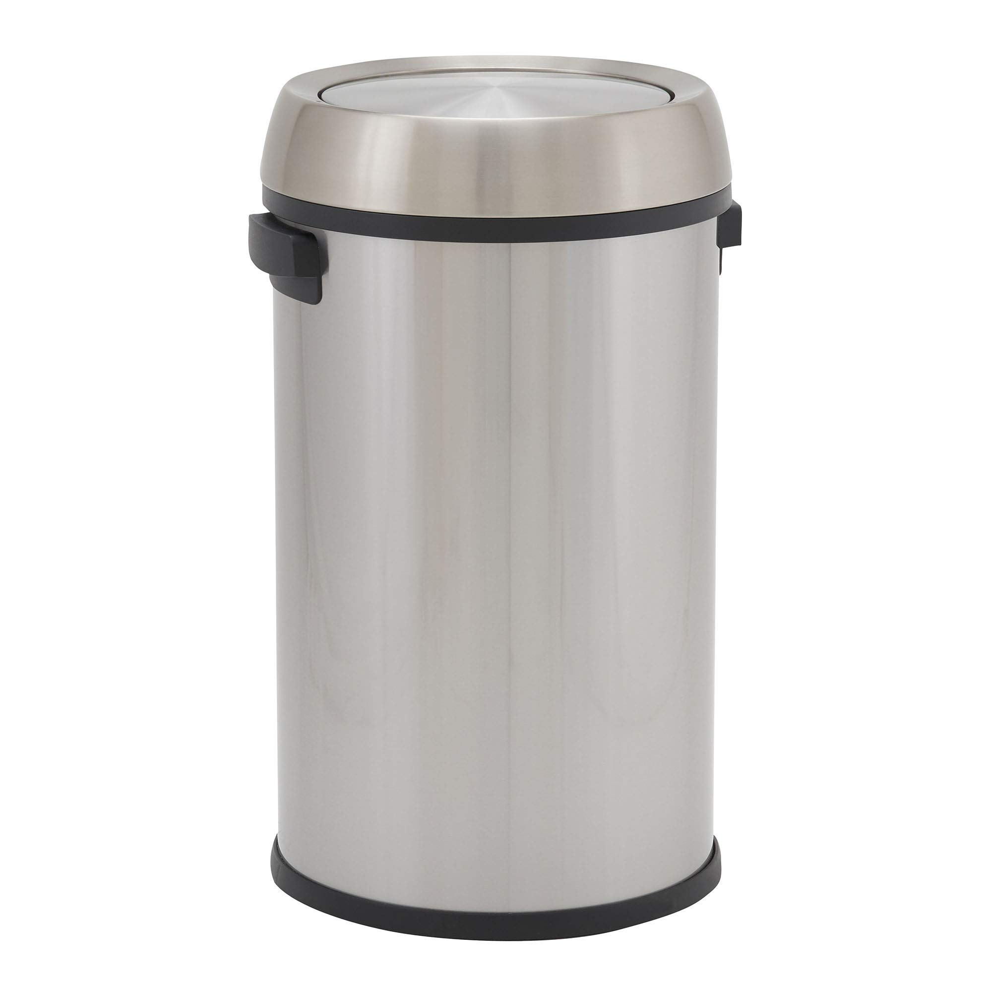 Design Trend Round Stainless Steel Commercial Trash Can with Swing Lid | 65 Liter / 17 Gallon, Silver by Design Trend