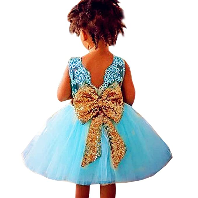 WanYang Vestidos De Princesa Para Bebé Niña Boda Bautizo Fiesta Arco De Lentejuelas Fiestas Boda Para