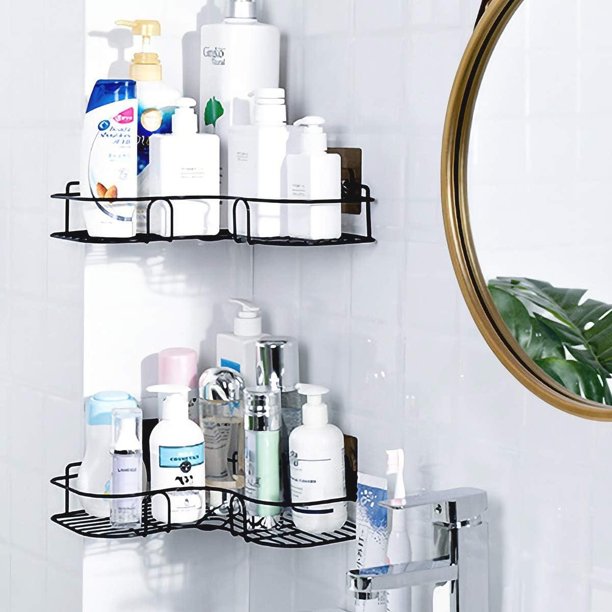 Laigoo Adhesive Bathroom Shelf, Metal Shower Caddy Corner Shelf Wall Mounted, Non-Drilling Floating Shelf for Bathroom Organizer/Kitchen/Shower Organizer (2 Pack, Black)
