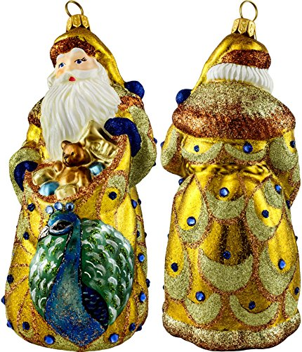 Golden Peacock Santa Ornament by Joy to the World