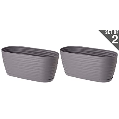 "UNIFRAMPRO 2-Pack Indoor/Outdoor Planter – Patio, Deck, Garden, Home – ""Michigan Dunes"" Modern Oval Flower Pot, Herb Planter with Attached Saucer Tray (L, Slate/Dark Gray) : Garden & Outdoor"