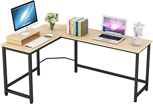 Home Office Computer Desk L Shaped Corner Workstation Table Sturdy Wooden Top Metal Frame Modern Design for Study Gaming Working Teak