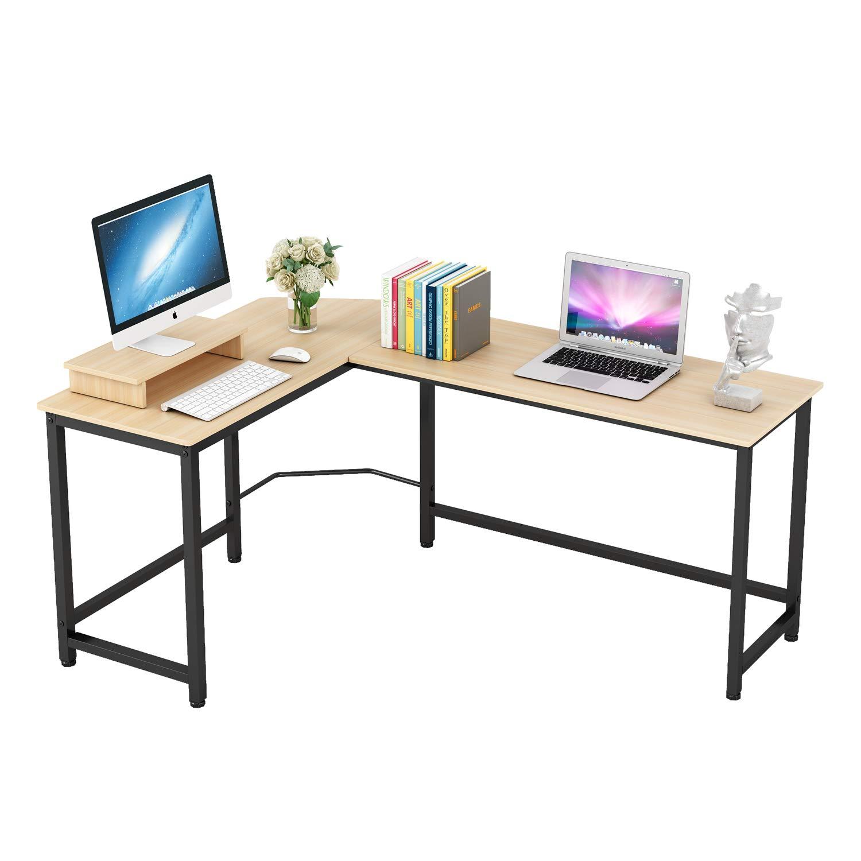 Home Office Computer Desk L Shaped Corner Workstation Table Sturdy Wooden Top Metal Frame Modern Design for Study Gaming Working Teak