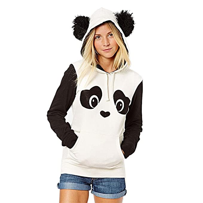 Landove Sudaderas con Capucha Tumblr Sweatshirt Panda Hoodie Camisas Otoño Invierno Moda Suéter Manga Larga Bonitas