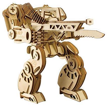Amazon com: 3D Wooden Mechanical Armor Puzzle,Three