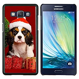 Navidad del perro de perrito- Metal de aluminio y de plástico duro Caja del teléfono - Negro - Samsung Galaxy A5 / SM-A500