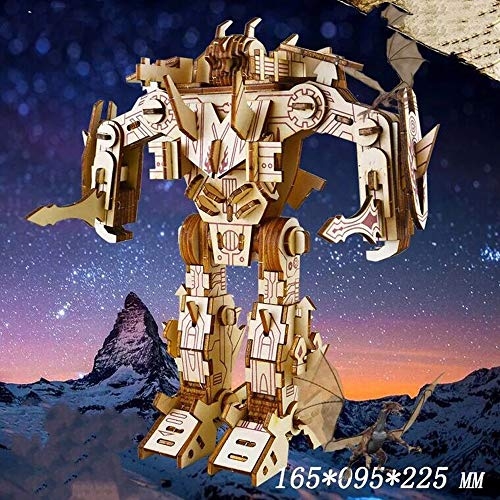Yobeyi 3D Puzzle Robot Wooden Building Blocks Model Self-Assembly Craft Kit DIY Brain Teaser Toys Best Gifts for Women & Men (Robot-3)