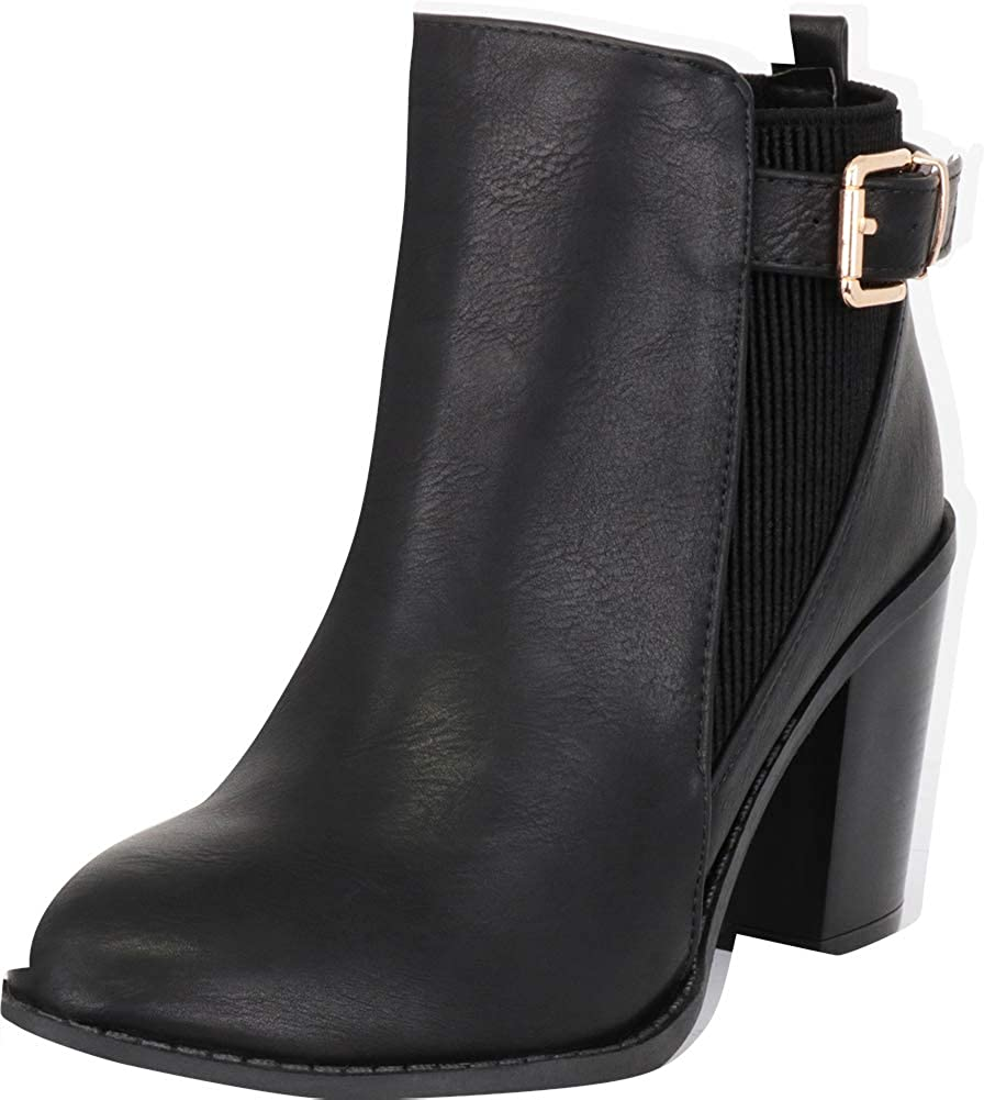 Black Pu Cambridge Select Women's Western Side Stretch Buckle Stacked High Heel Ankle Bootie