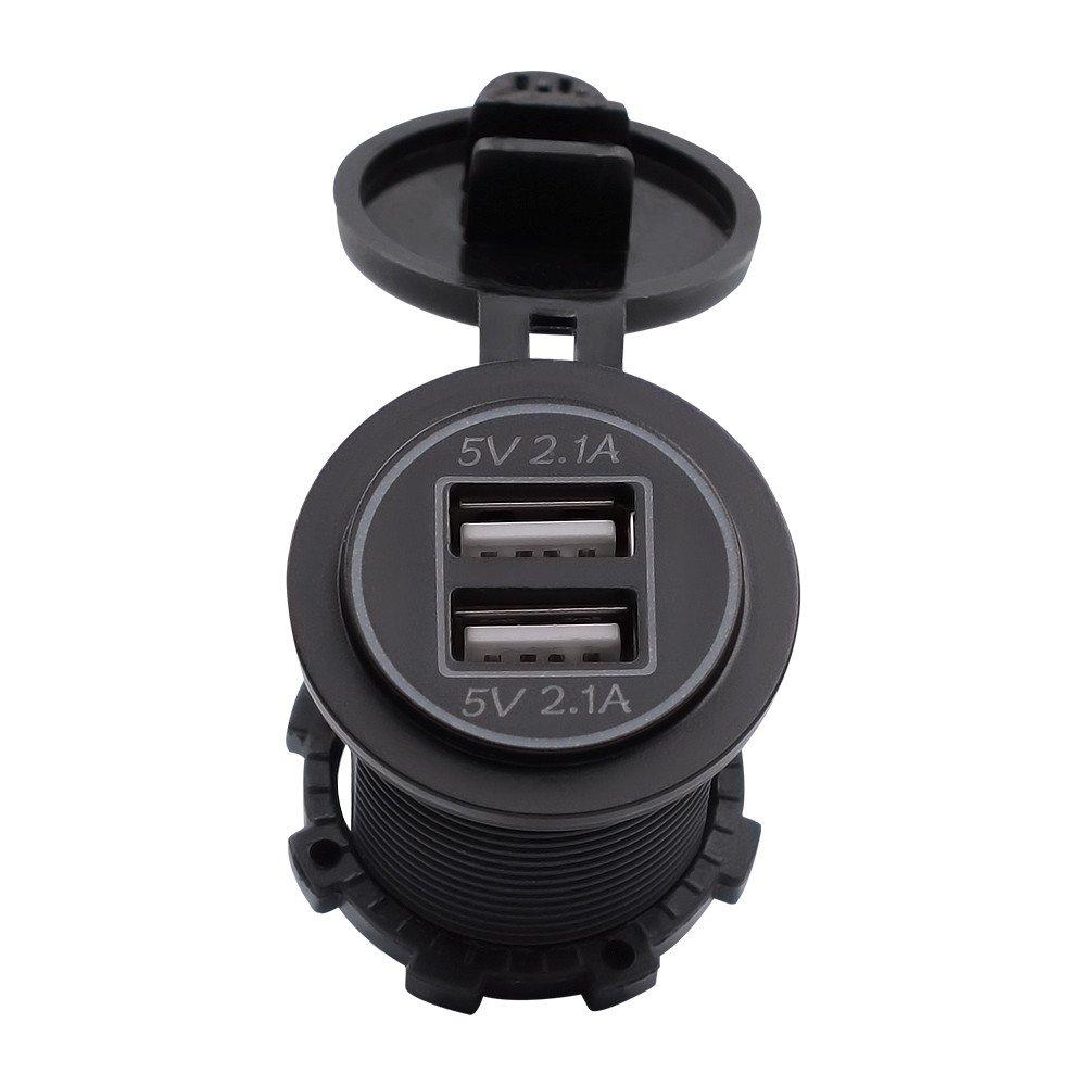 SCHOLIEBEN 5V 4.2A Prise De Charge Double Adaptateur Chargeur Usb Pour Voiture De Moto 12V 24V Compatible Mini Ports Edge Etc Ultra Compact Technologie Et Garantie Red