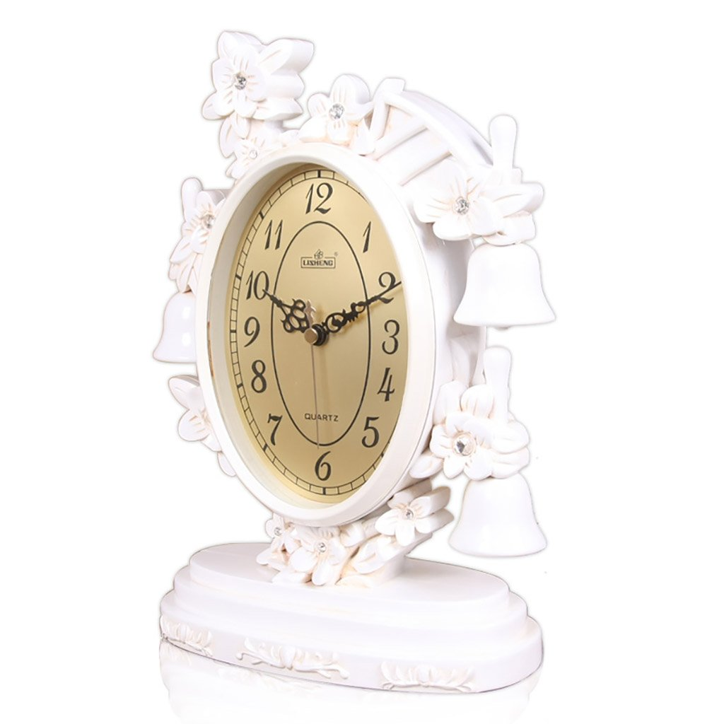 SESO UK- Europäische Retro Quartz Uhr Resin Wohnzimmer Schreibtisch Regal Stand Uhren (Farbe : Weiß)