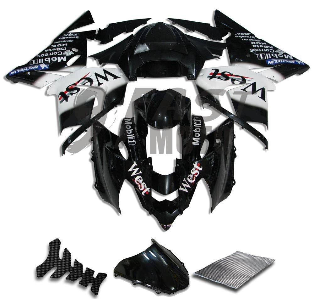 9FastMoto kawasaki カワサキ 2004 2005 ZX-10R ZX10R Ninja 04 05 ZX-10R ZX10R Ninja 用フェアリング オートバイフェアリングキット ABS 射出成形セット スポーツバイク カウル パネル (ブラック & ホワイト) K0197   B07RN5KVTS