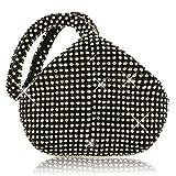 P&R Triangle Luxury Full Rhinestones Women's Fashion Evening Clutch Bag Party Prom Wedding Purse - Best Gife For Women (Black)