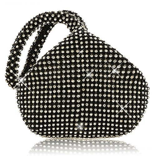 P&R Triangle Luxury Full Rhinestones Women's Fashion Evening Clutch Bag Party Prom Wedding Purse - Best Gife For Women (Black)