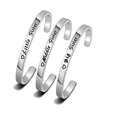 c6845ac7296 WUSUANED Set of 3 Sister Bracelet, Big Sister, Middle Sister, Little Sister  Bracelet