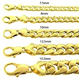 """.925 Sterling Silver Gold Mens Hollow Miami Cuban Curb Link Yellow Gold Bracelet Chain 8.75"""""""