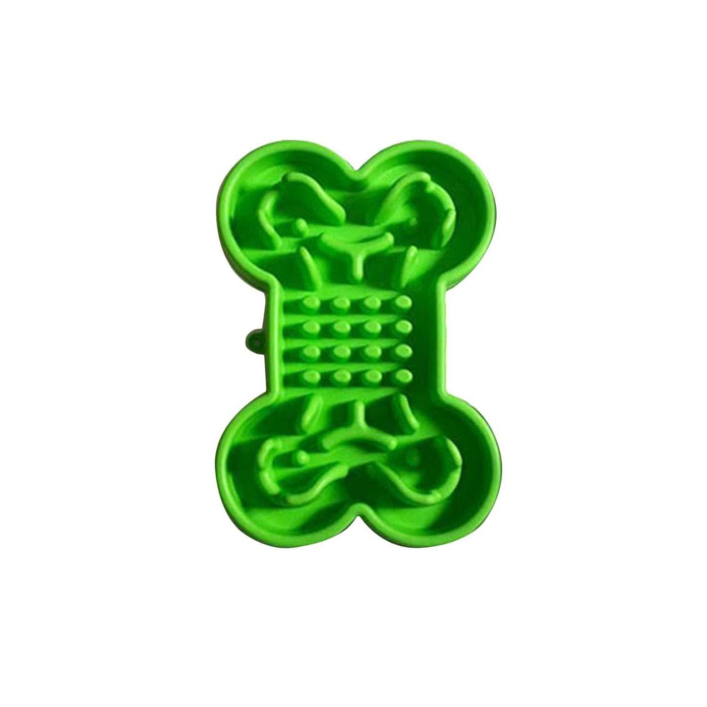 Green 330x230x55mm green 330x230x55mm Bone Type Silicone Pet Slow Food Bowl Green 330x230x55mm