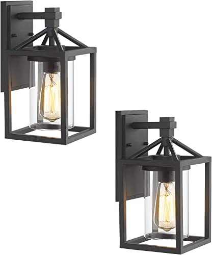 Zeyu Outdoor Wall Light 2 Pack, Exterior Wall Sconce Lantern Lighting for Patio, Black Finish with Clear Glass Shade, ZY03-W-2PK BK