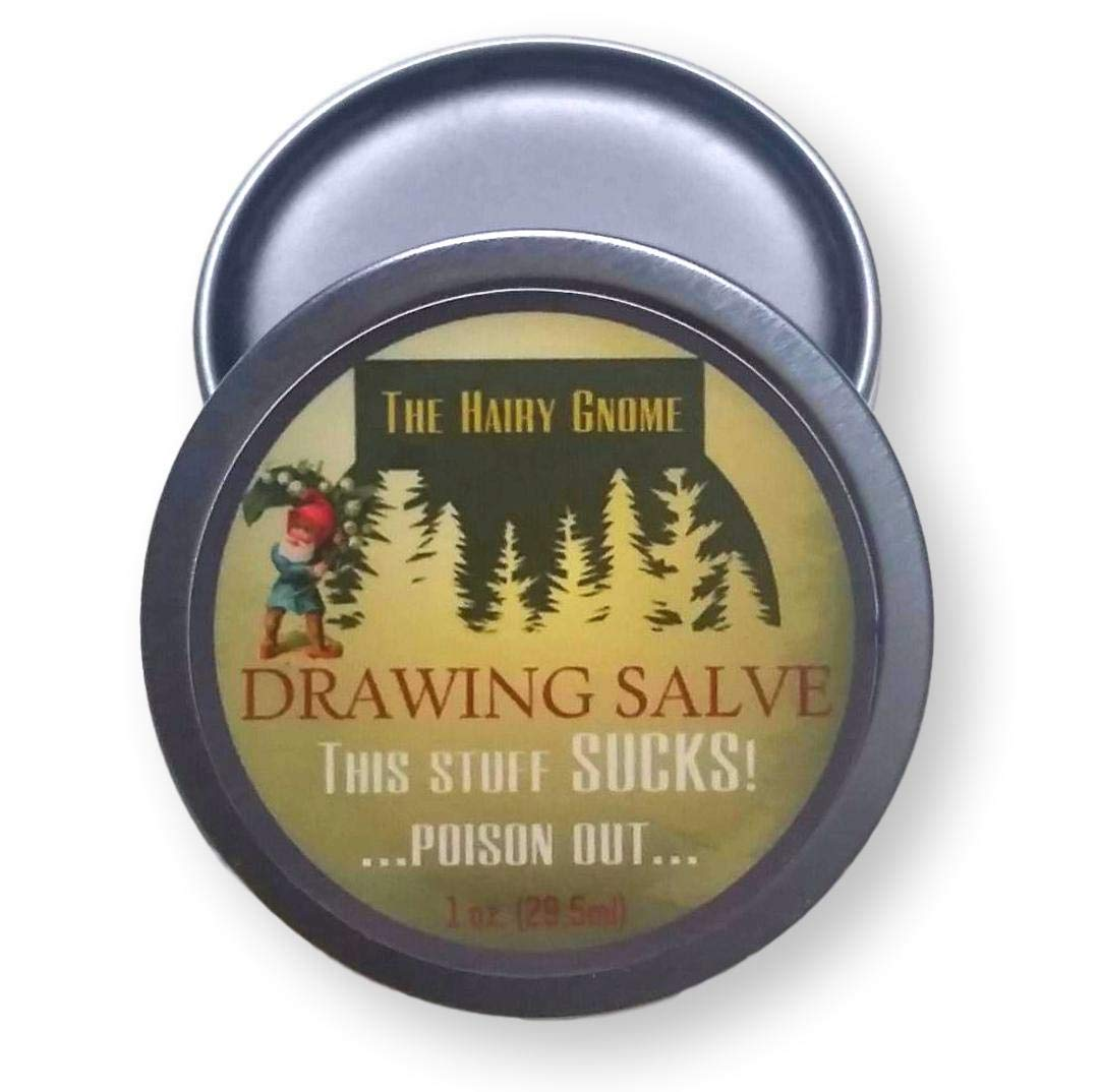 The Hairy Gnome Drawing Salve, This Stuff Sucks! Poison out. Handmade with Organic Ingredients, 1 oz. Old Timey Plantain and Pine Tar Recipe for Infections, Splinters, and Boils. Eco-Friendly Company.