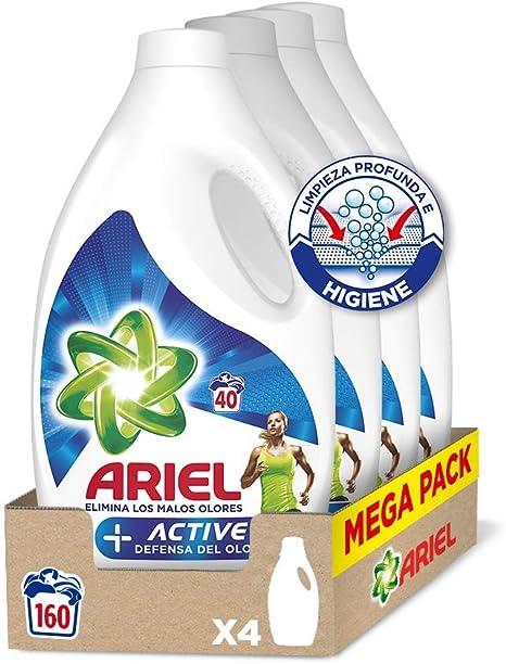Ariel Detergente Líquido para Lavadora, Active Odour Control, 160 Lavados (4 x 40)