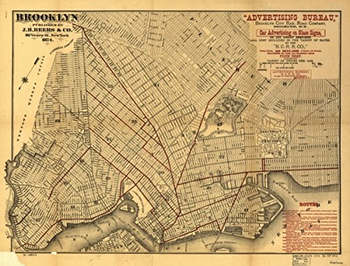 Map: 1874 Brooklyn. Street of Brooklyn published for Advertising Bureau, Brooklyn City Rail Road Company. Overprinted in brown to show