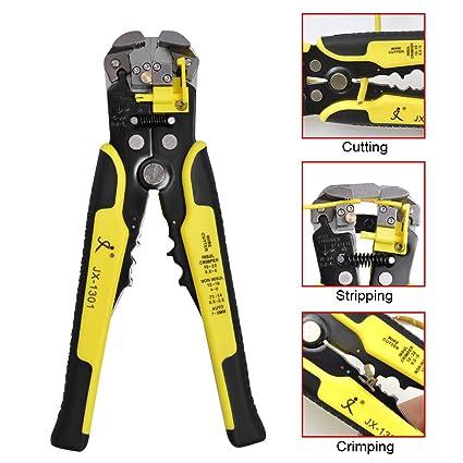 AWinEur Pelacables 5 en 1 multifuncional cortador de cable automático crimpadora herramienta de pelado de cables