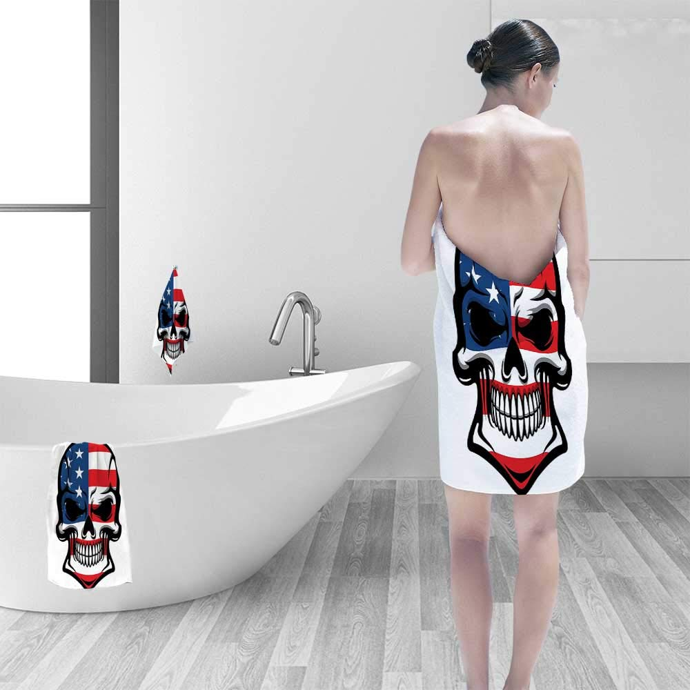 Printsonne Quick-Dry Bath Towel Scary Skull with American Flag Dead Native of The Country States Evil Art Ideal for Everyday use