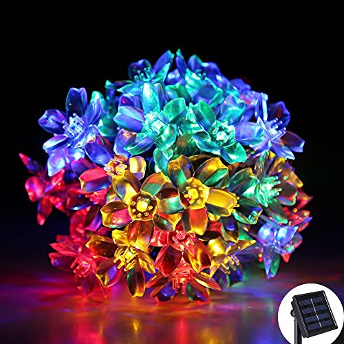 LED Solar String Lights, 23ft 50 LED, OGG Flower Fairy starry Blossom Christmas Lights,Waterproof ,Outdoor and Indoor Use, Ideal for Wedding,Party,Garden,Patio,Halloween Lights Decoration(multi color)